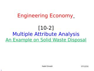 [10-2] Multiple Attribute Analysis - Example.ppt