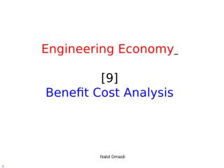 [9] Benefit Cost Analysis.ppt