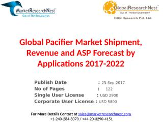 Global Pacifier Market Shipment, Revenue and ASP Forecast by Applications 2017-2022.pptx