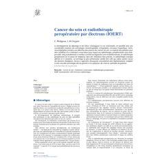 Cancer du sein et radiothérapie peropératoire par électrons (IOERT).pdf